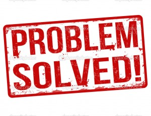 Problem solved grunge rubber stamp on white, vector illustration