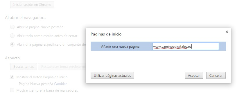 chrome-abrir-pagina-especifica-caminosdigitales