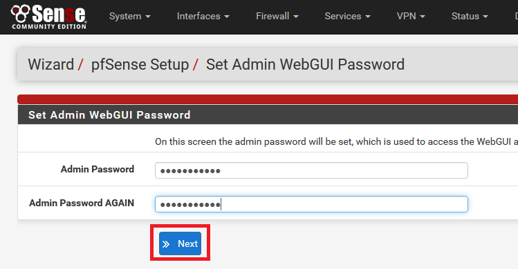 pfsense password