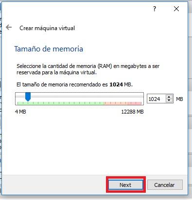 Screenshot. Virtualbox. Tamaño de memoria
