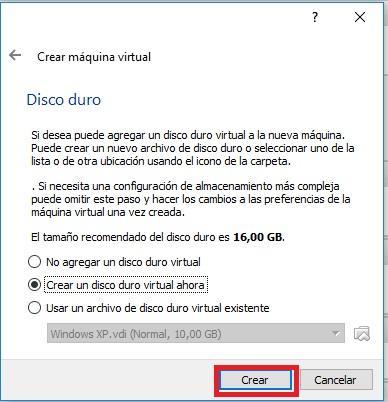 Screenshot. Virtualbox. Crear maquina virtual