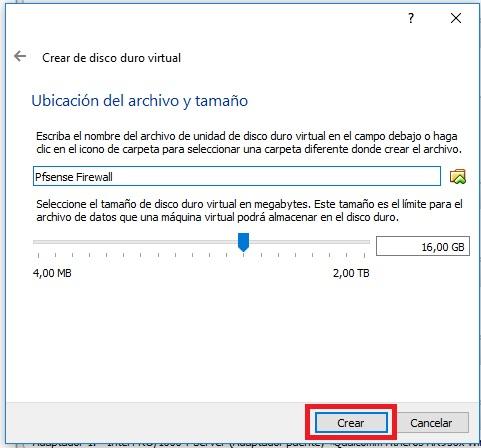Instalar pfsense en VirtualBox