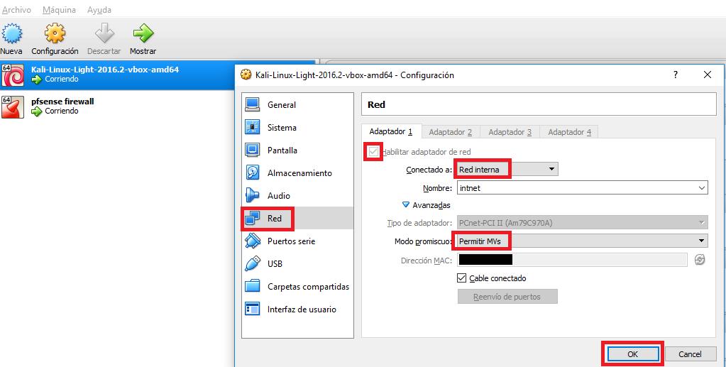Screenshot kali linux en virtualbox