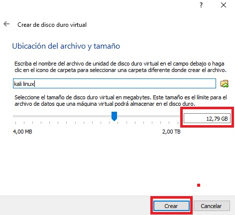 disco duro kali linux virtualbox